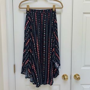 Hollister Boho Midi Patterned Navy Skirt XS